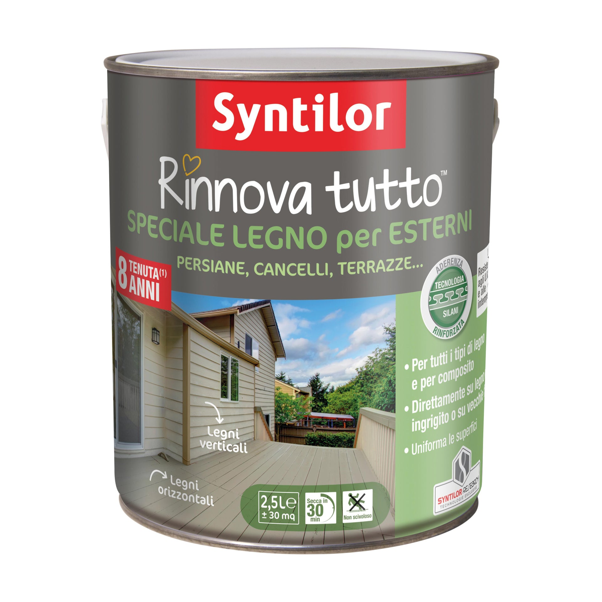 Smalto per legno da esterno base acqua SYNTILOR Rinnova Tutto grigio chiaro 2.5 L - 2