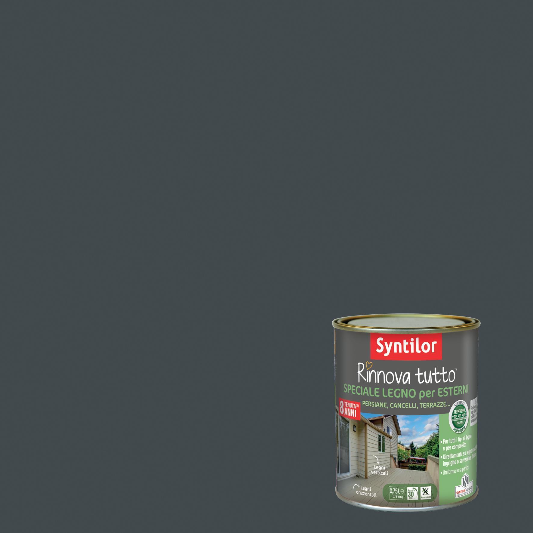 Smalto per legno da esterno base acqua SYNTILOR Rinnova Tutto grigio antracite 2.5 L - 1