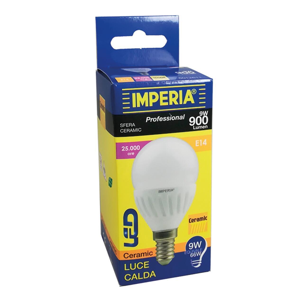 Lampadina LED, E14, Sferico, Opaco, Luce calda, 9W=900LM (equiv 66 W), 200° , IMPERIA - 2