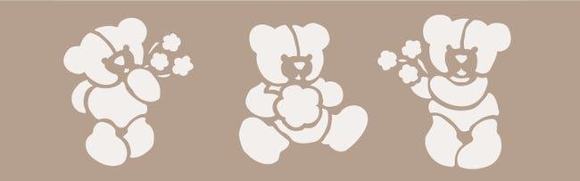 Stencil tema geometrici Teddy bear 15 x 40 cm - 1