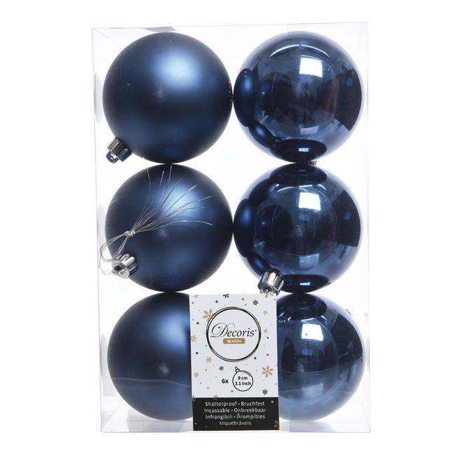 Sfera natalizia in plastica Ø 8 cm confezione da 6 pezzi - 1