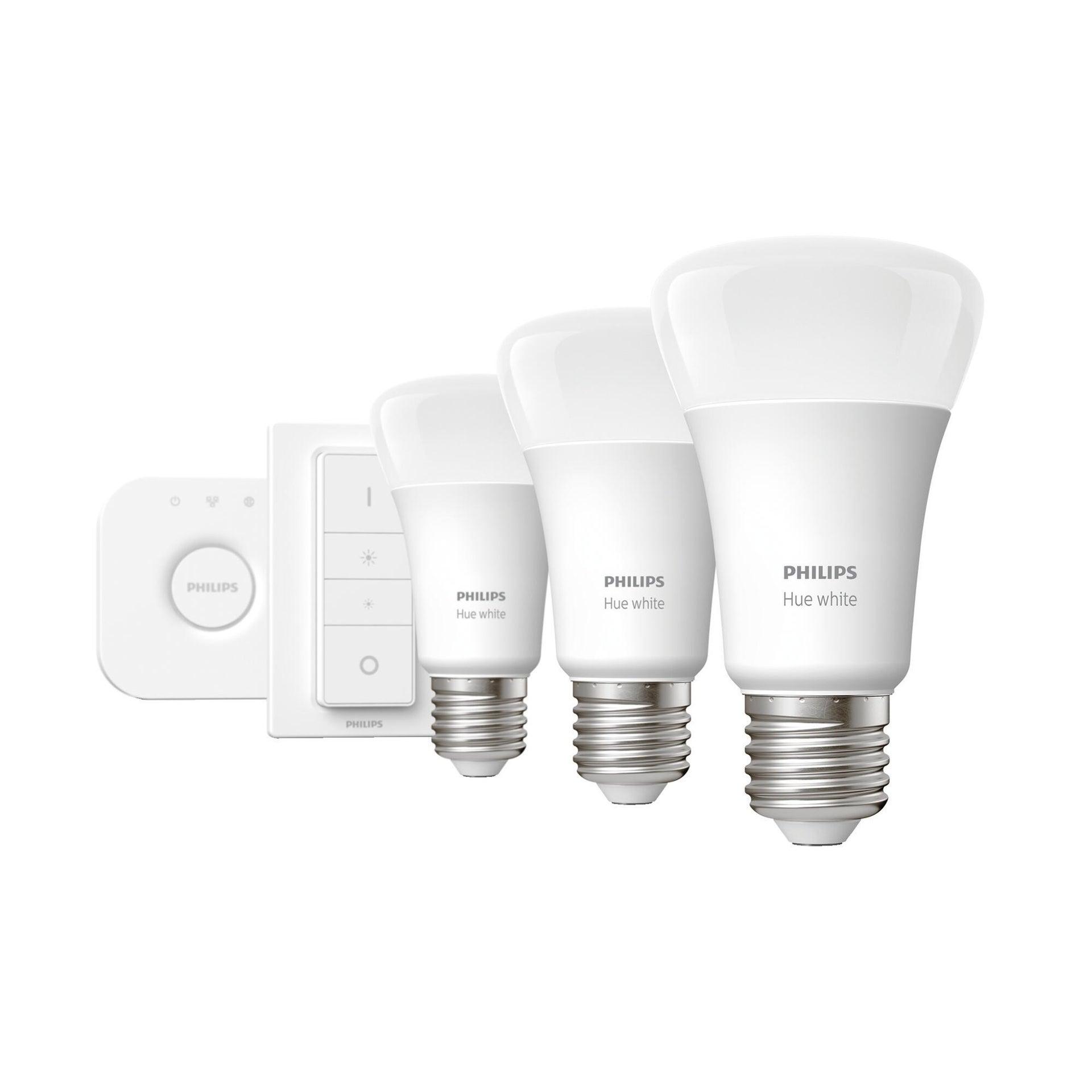 Set di 3 lampadine LED, HUE WHITE BLUETOOTH + BRIDGE + DIMMER, E27, Goccia, Opaco, Luce calda, 9W=806LM (equiv 60 W), 150° , PHILIPS HUE - 2