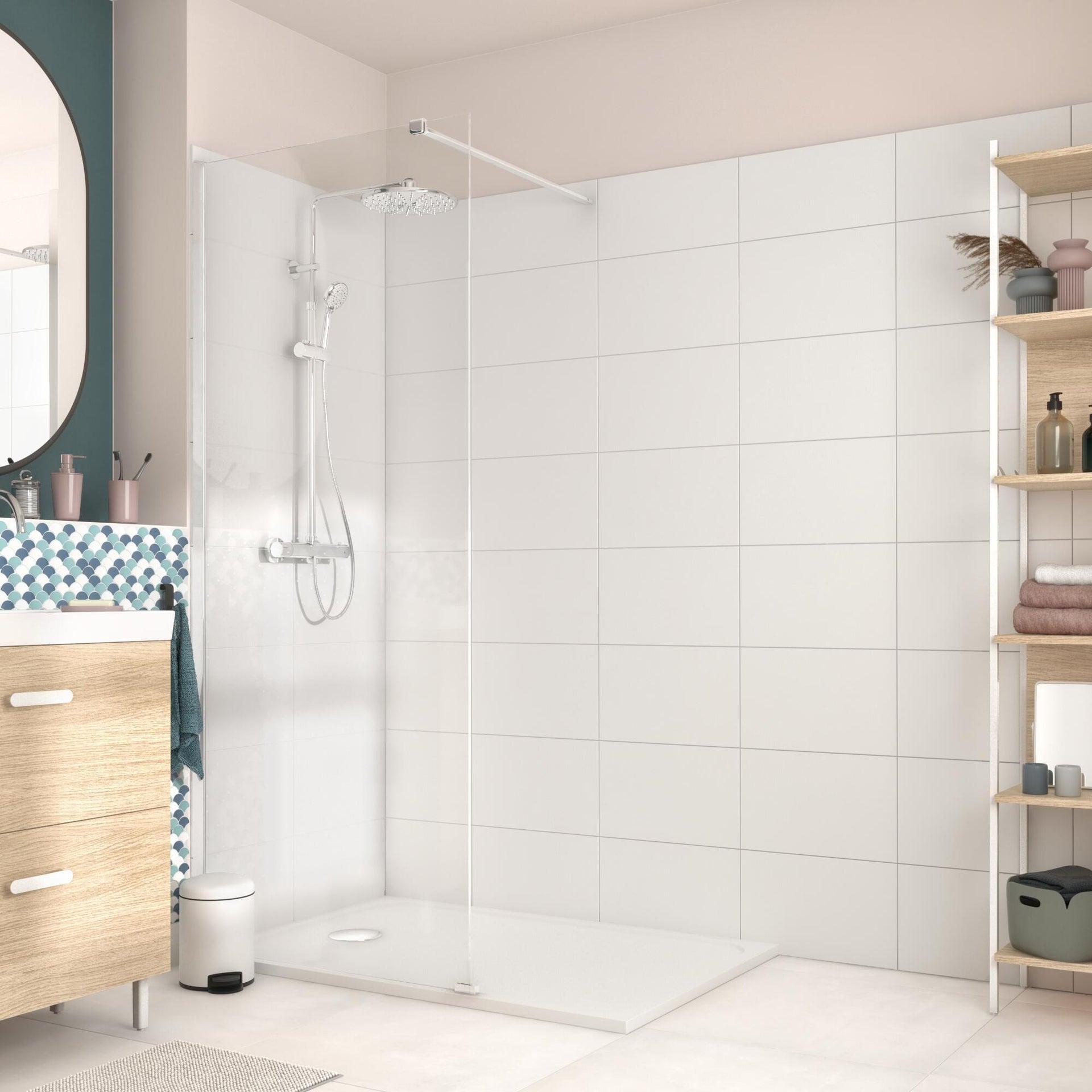 Piatto doccia resina sintetica e polvere di marmo Easy 80 x 120 cm bianco - 17