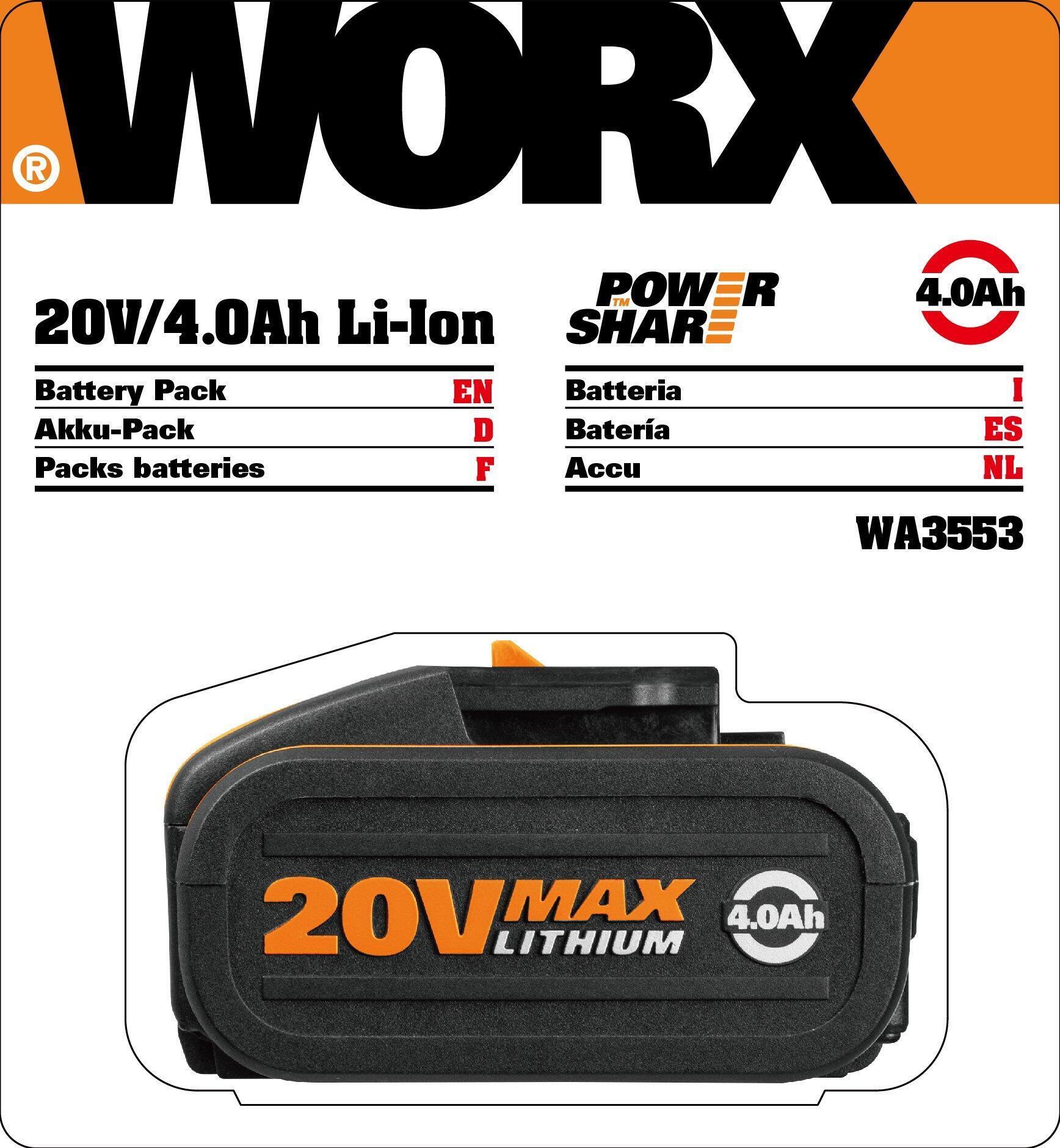 Batteria WORX in litio (li-ion) 20 V 4 Ah - 2