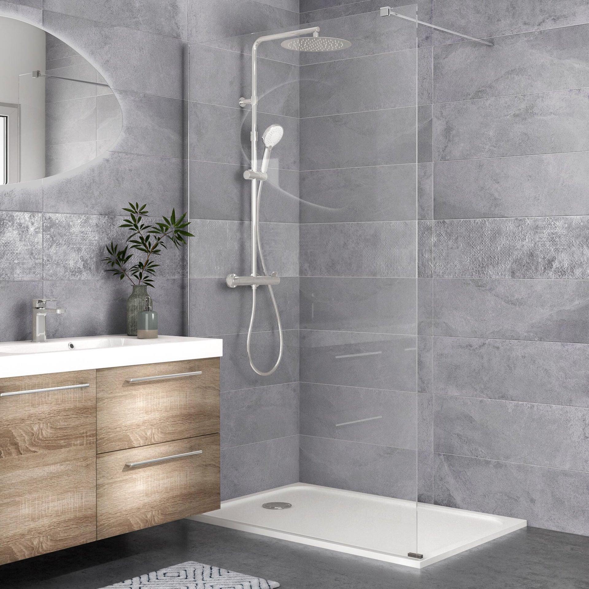 Piatto doccia resina sintetica e polvere di marmo Easy 80 x 120 cm bianco - 13