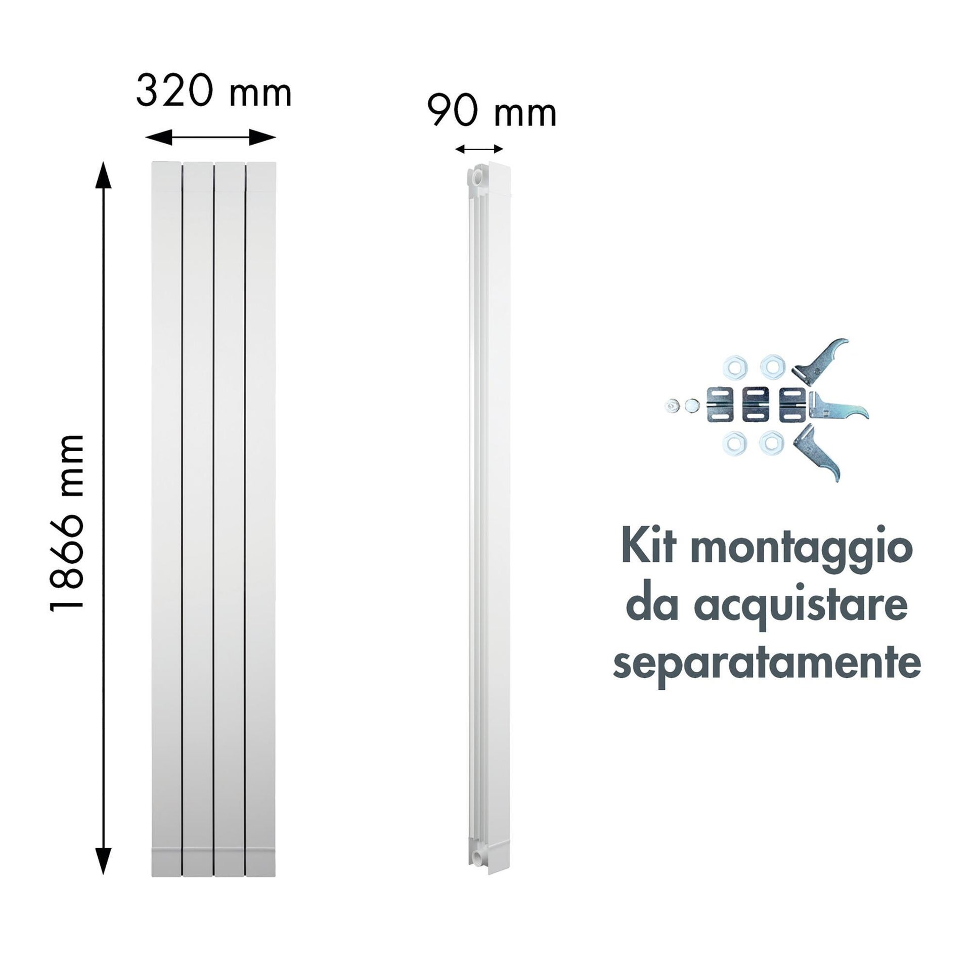 Radiatore acqua calda PRODIGE Superior in alluminio 4 elementi interasse 180 cm - 5