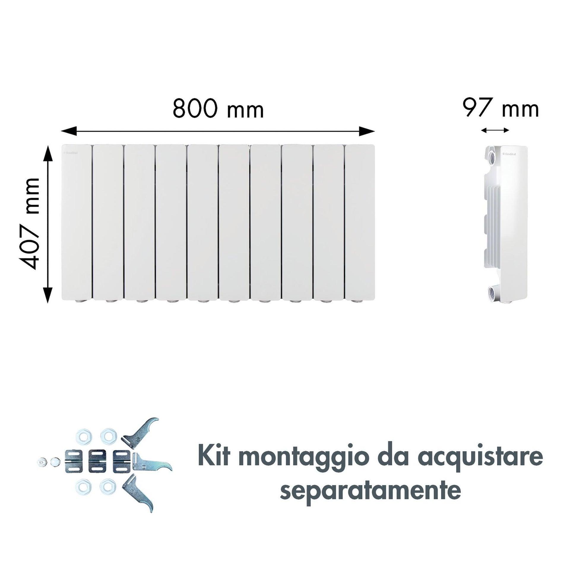 Radiatore acqua calda PRODIGE Modern in alluminio 10 elementi interasse 35 cm - 4