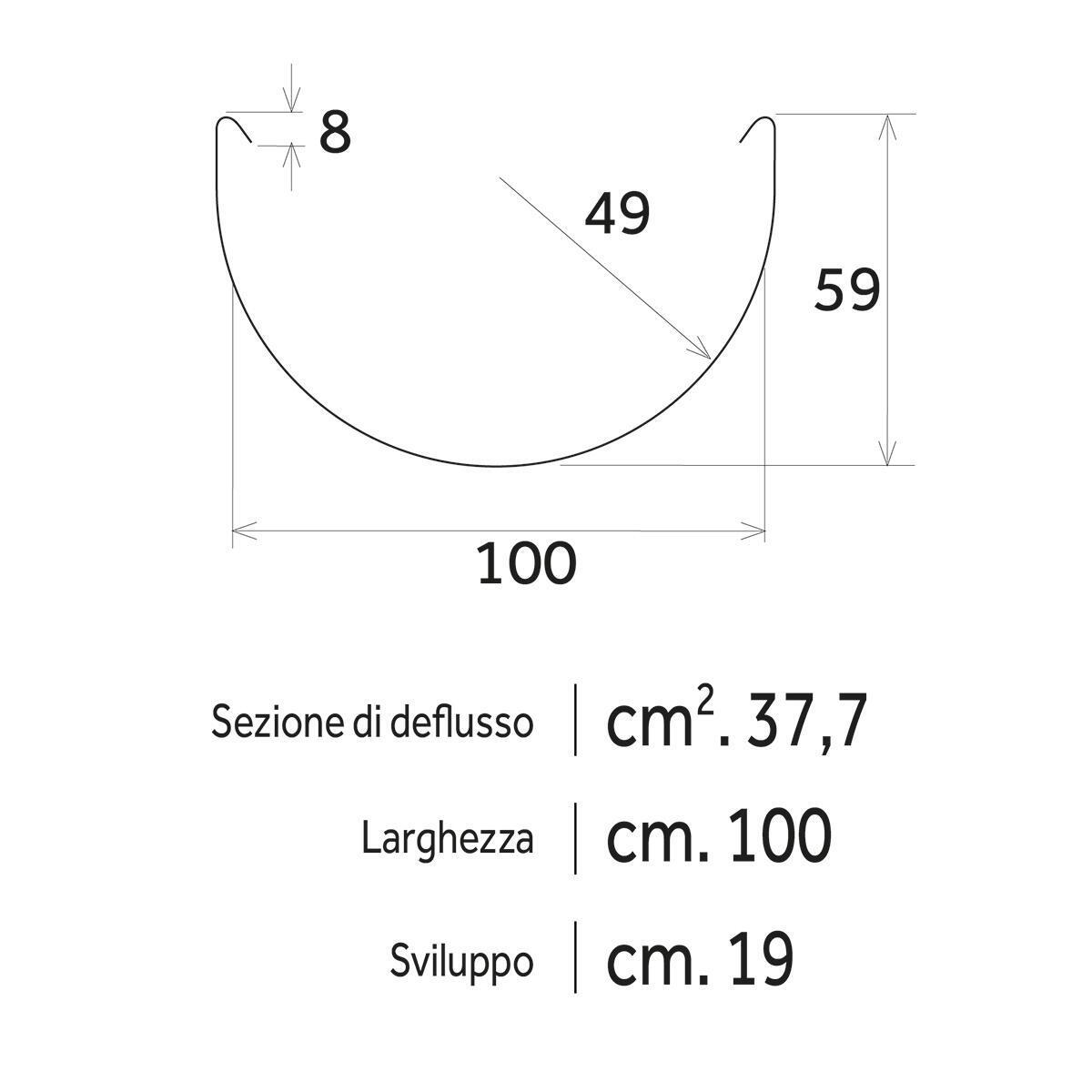 Canale di gronda marrone L 2 m x H 95 mm - 3