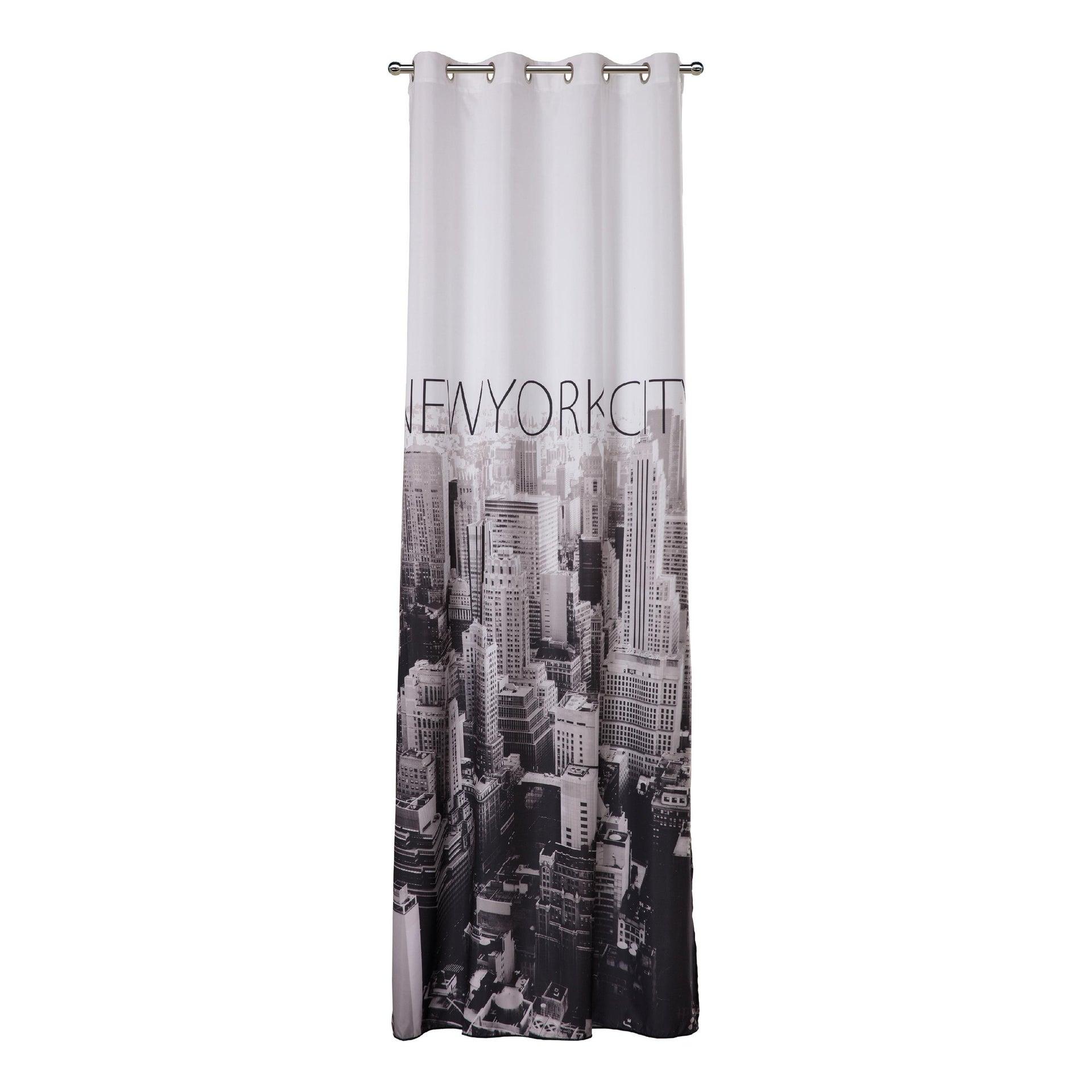 Tenda Metropolitan New York bianco e nero occhielli 140 x 280 cm - 4