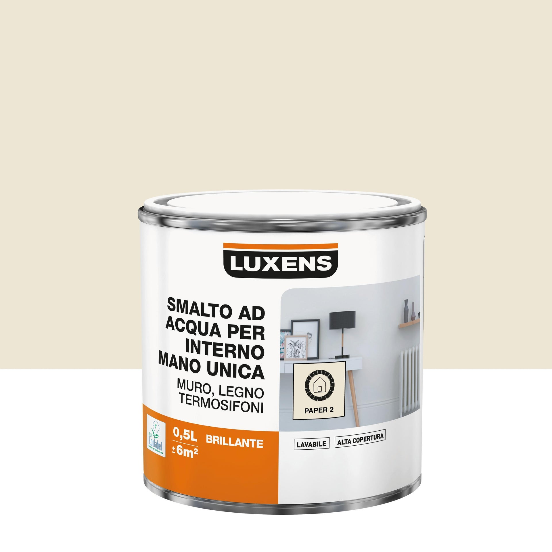 Vernice di finitura LUXENS Manounica base acqua bianco paper 2 lucido 0.5 L - 1