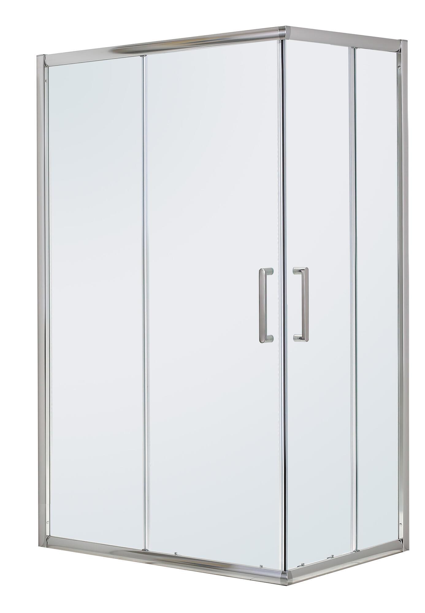 Box doccia quadrato scorrevole Quad 80 x 100 cm, H 190 cm in vetro temprato, spessore 6 mm trasparente argento - 7