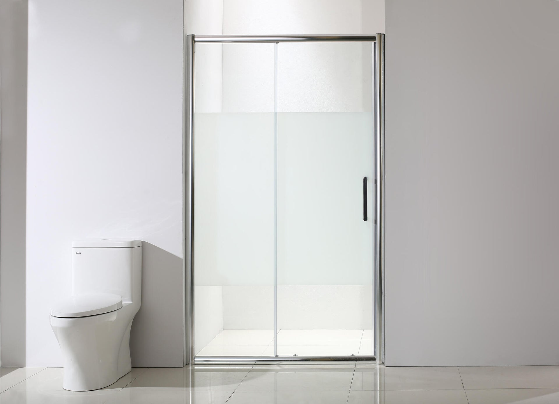 Porta doccia scorrevole Quad 120 cm, H 190 cm in vetro, spessore 6 mm serigrafato cromato - 7