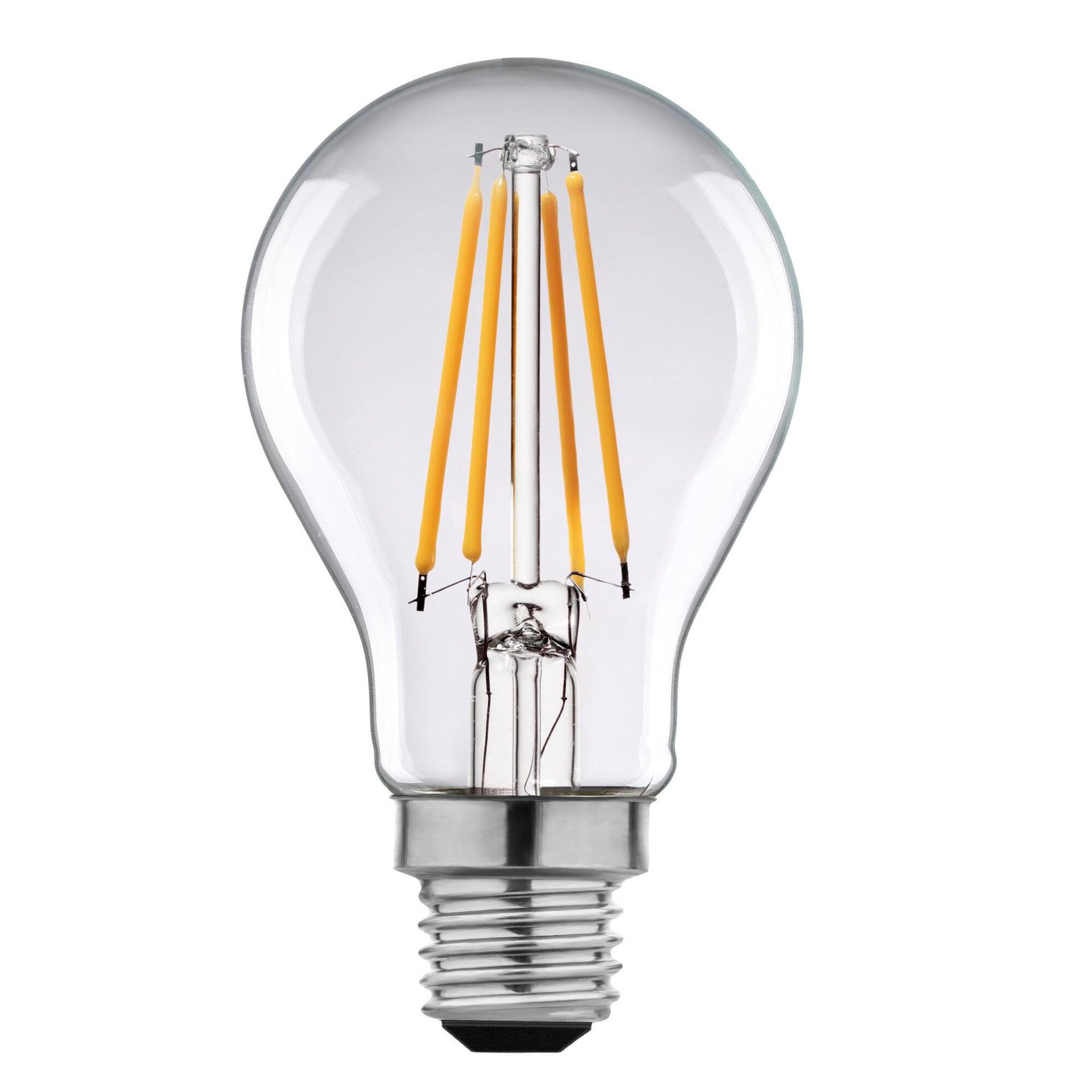Lampadina LED filamento, E27, Goccia, Trasparente, Luce calda, 6W=806LM (equiv 60 W), 360° , LEXMAN - 10