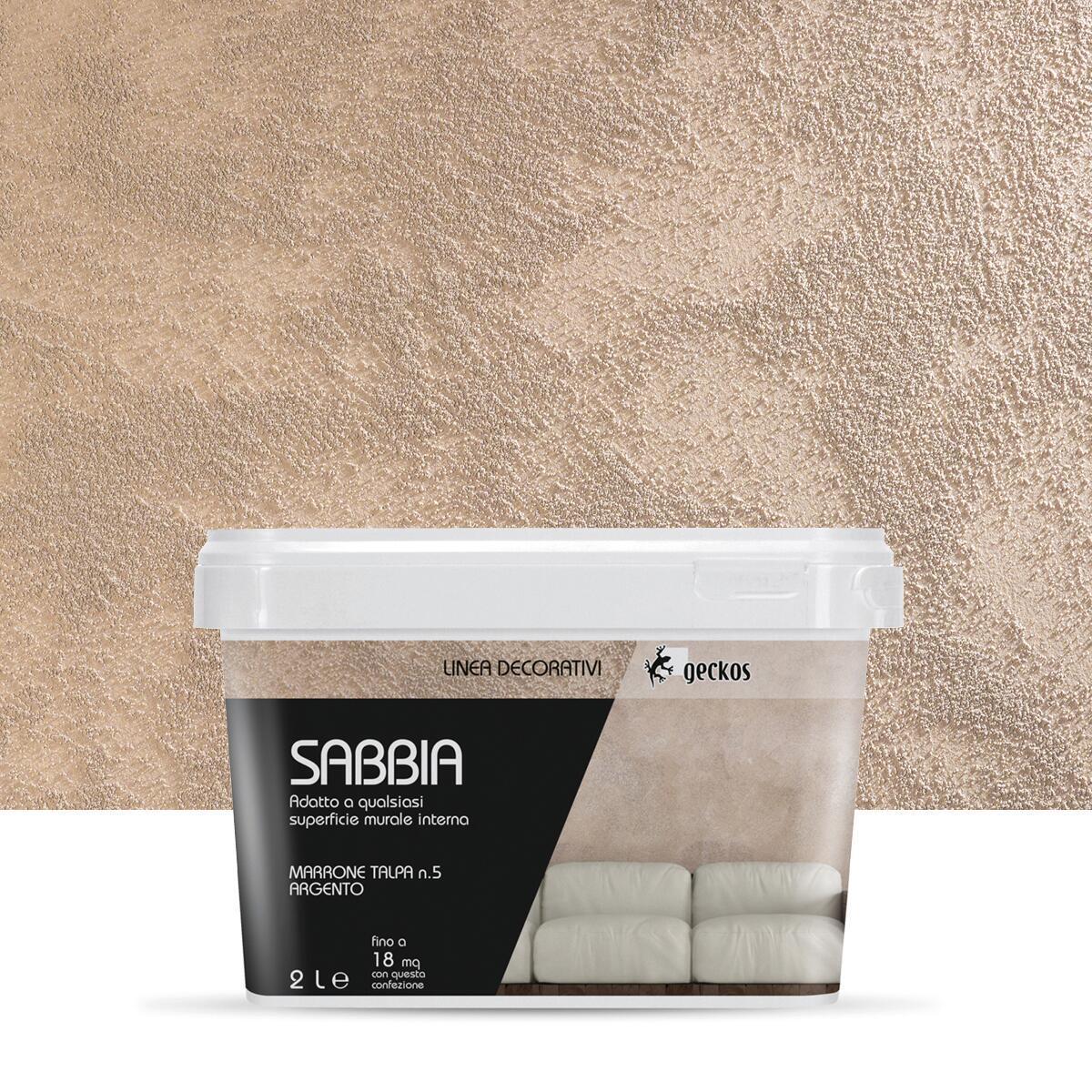 Pittura decorativa effetto sabbiato marrone talpa 5 2 l GECKOS - 12