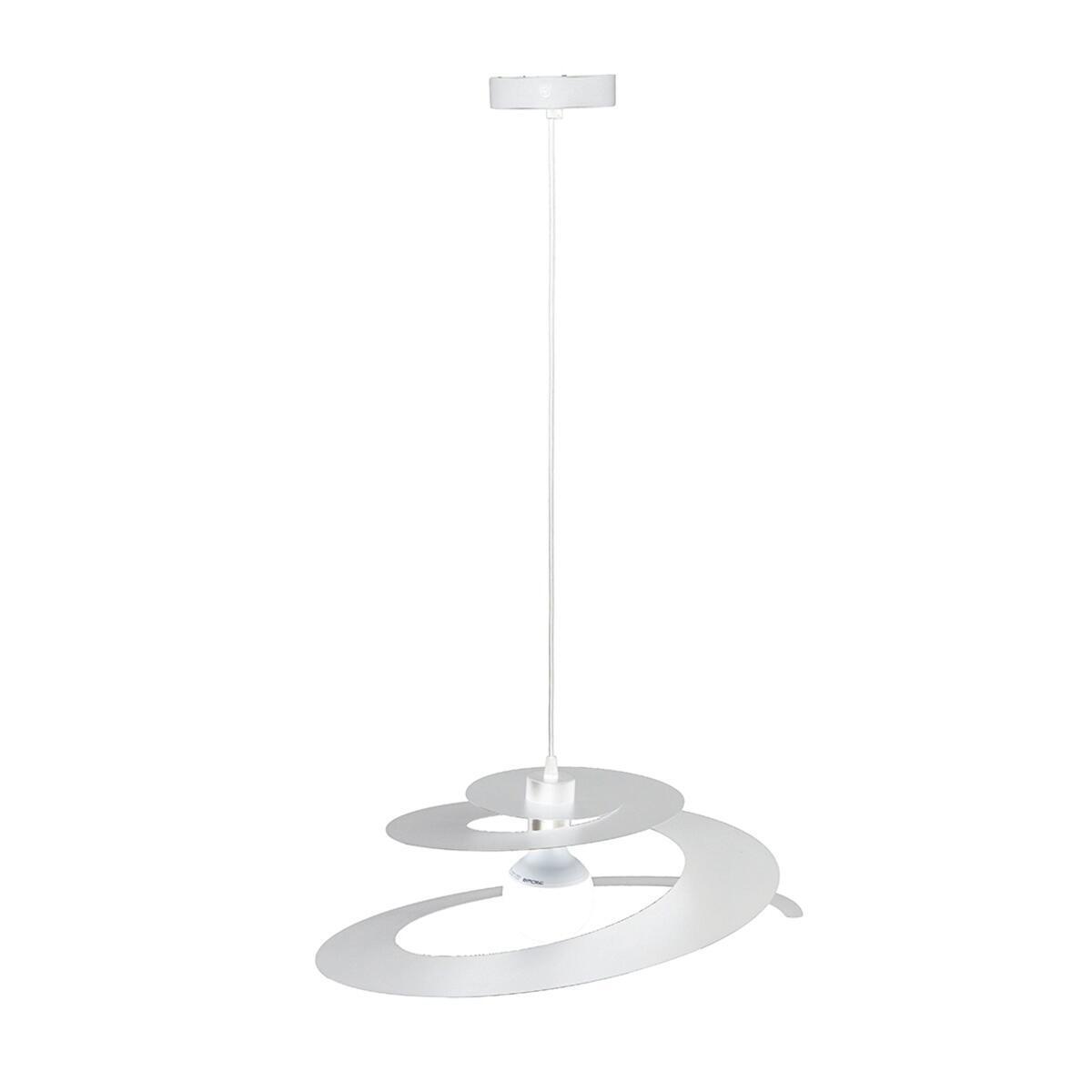 Lampadario Moderno Spirale bianco in metallo, L. 45 cm, NOVECENTO - 3