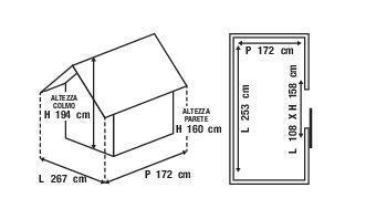 Casetta da giardino in metallo Burgas, superficie totale 4.35 m² e spessore parete 27 mm - 6
