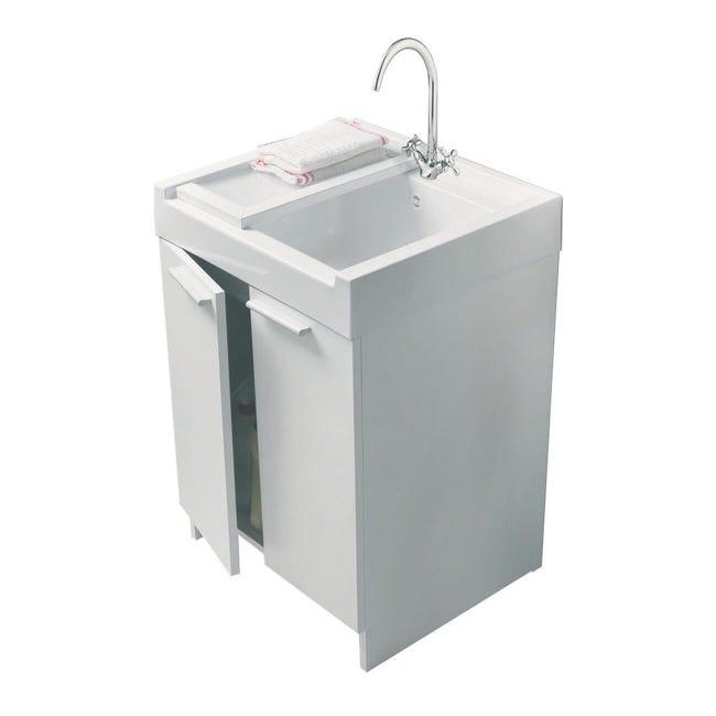 Mobile lavanderia Evo bianco e alluminio L 60 x P 50 x H 84 cm - 1