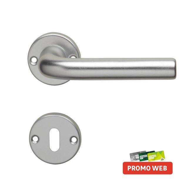 Maniglia con rosetta e bocchetta GHIDINI 142 in alluminio satinato - 1