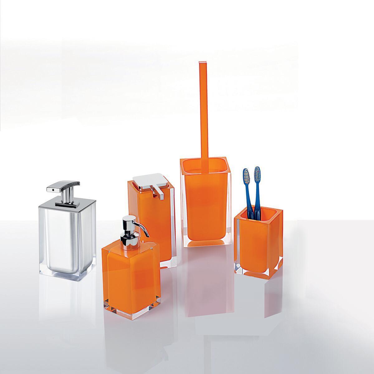 Porta scopino wc da appoggio Rainbow in resina arancione - 2