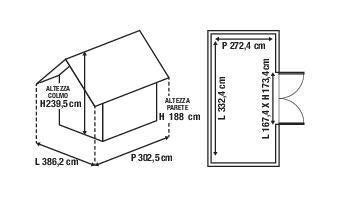 Casetta da giardino in legno Azalea, superficie interna 9.05 m² e spessore parete 28 mm - 3