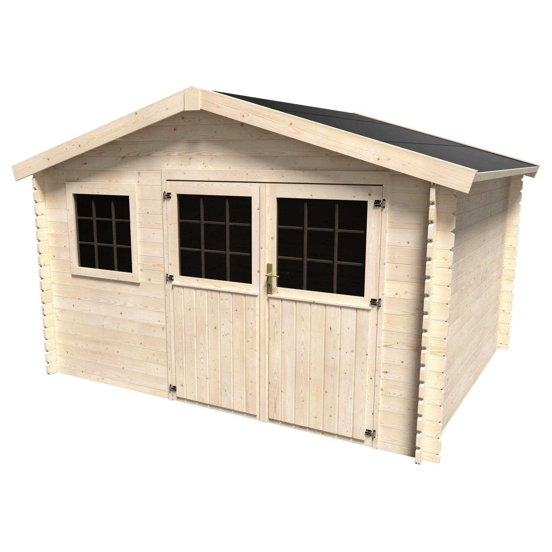 Casetta da giardino in legno Azalea, superficie interna 9.05 m² e spessore parete 28 mm - 2