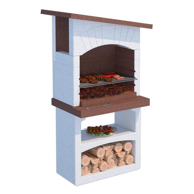 Barbecue in cemento refrattario LINEA VZ Caorle con cappa L 58 x P 58 x H 165 cm - 1
