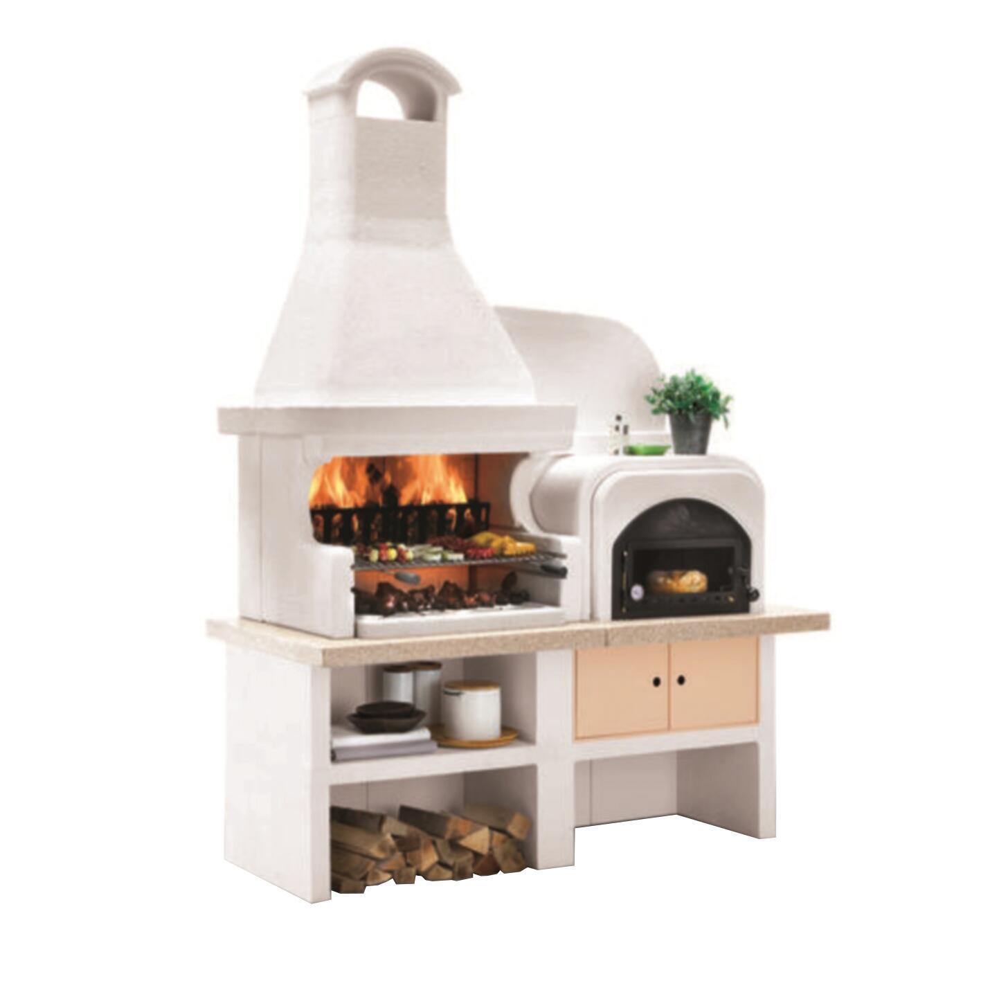 Barbecue in cemento refrattario PALAZZETTI Malibù + forno a Dx griglia 76 cm L 180 x P 85 x H 252 cm