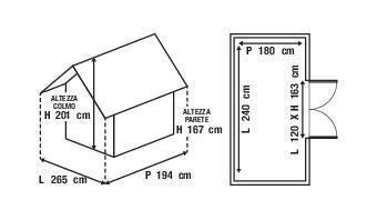 Casetta da giardino in legno Bouganvillea, superficie interna 4.32 m² e spessore parete 12 mm - 5