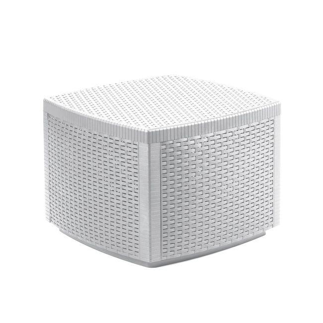 Tavolino da giardino quadrato Contenitore Lipari con piano in resina L 53 x P 53 cm - 1