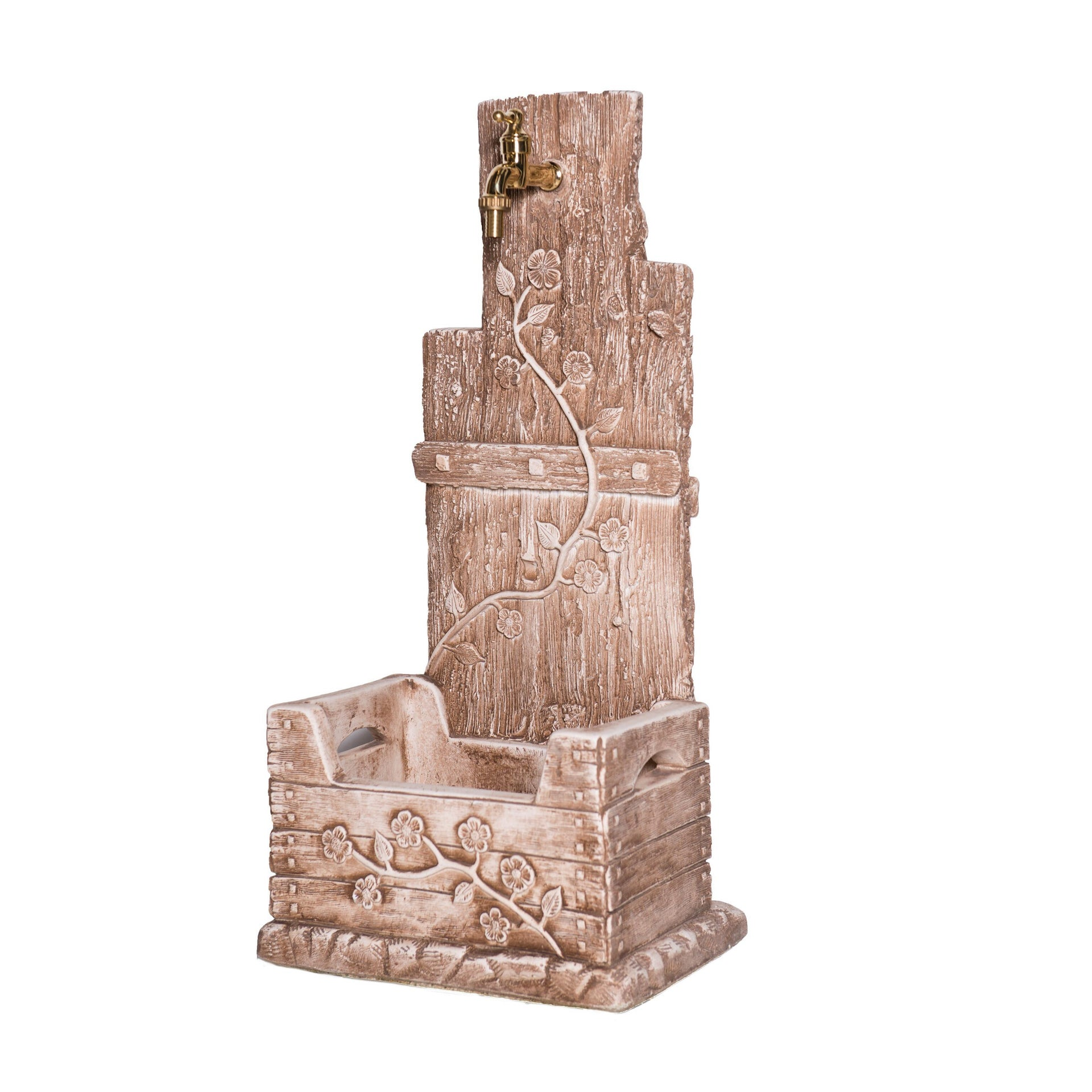 Fontana a colonna Quadrifoglio in calcestruzzo H 81 cm, 39 x 29 cm - 1