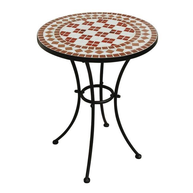 Tavolo da giardino tondo Tmt con piano in mosaico Ø 55 cm - 1