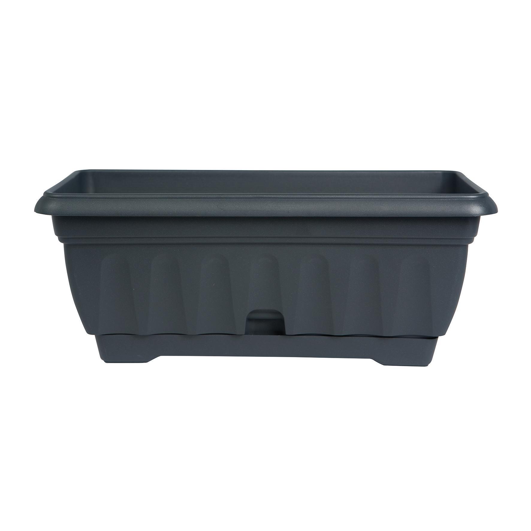 Cassetta portafiori Imagna in plastica grigio antracite H 18 , L 42 X P 20 cm