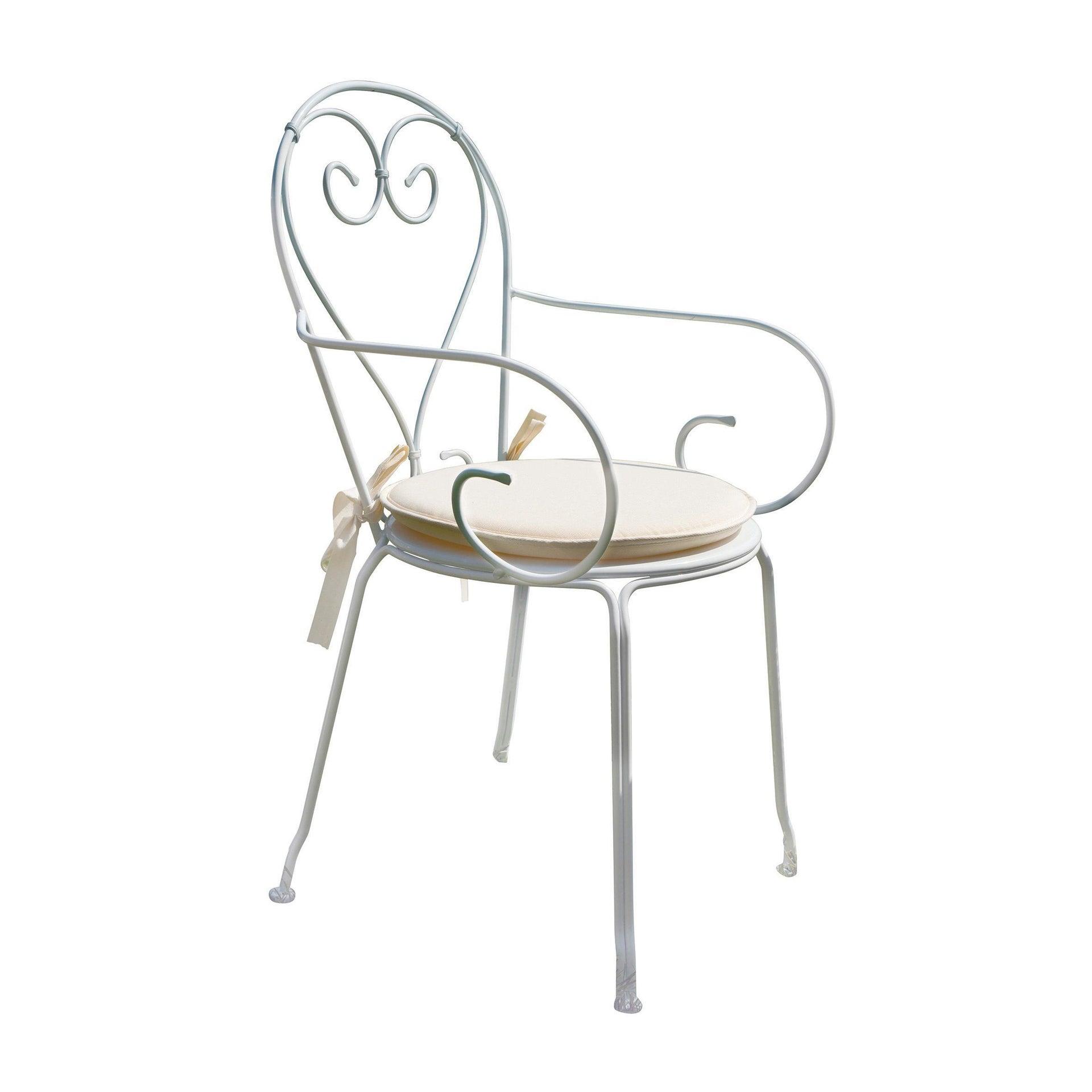 Sedia con braccioli senza cuscino Sirmione colore bianco - 1