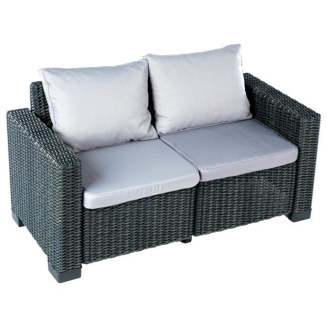 Divano da giardino con cuscino 2 posti in resina California colore antracite - 1