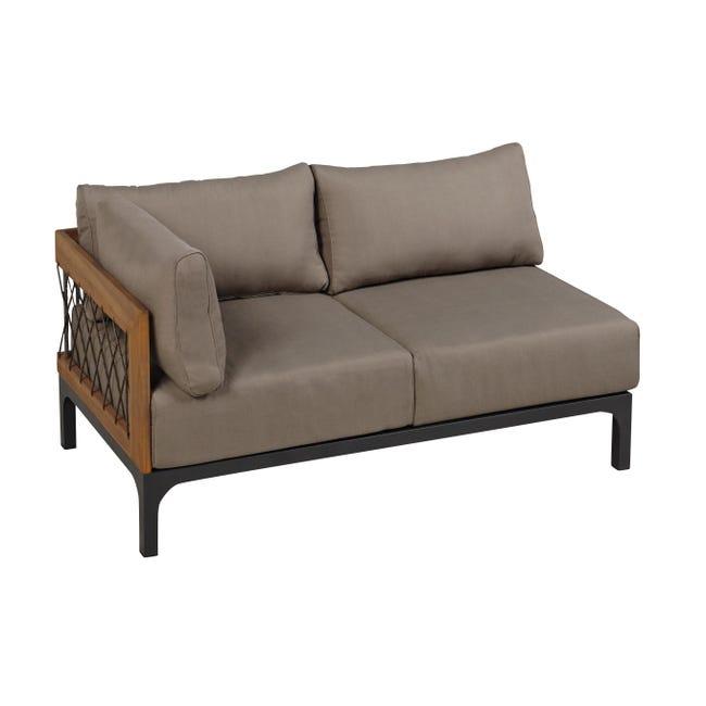Divano da giardino con cuscino 2 posti in alluminio Peloponeso colore marrone e grigio - 1