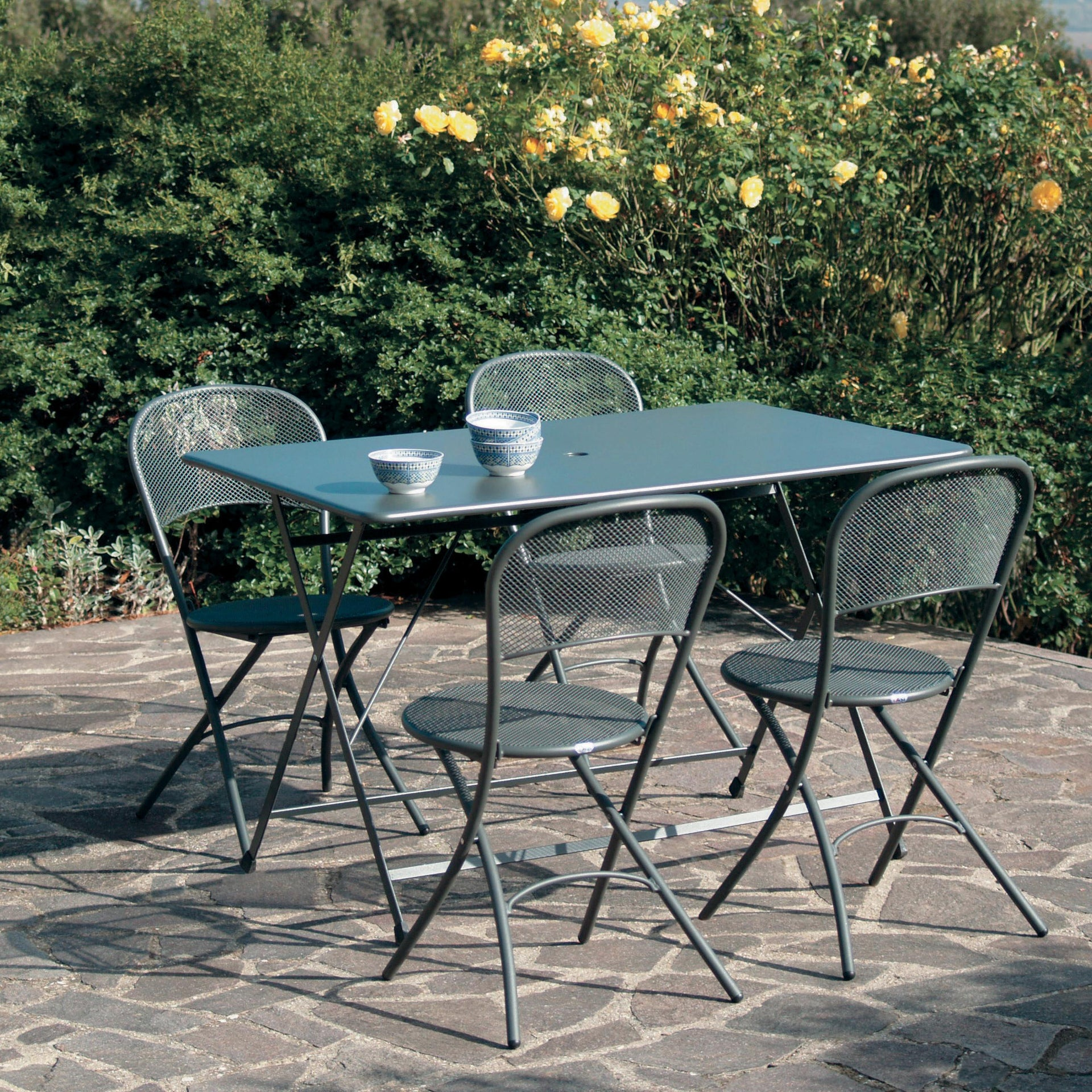 Tavolo da pranzo per giardino rettangolare Cassis con piano in acciaio L 76 x P 120 cm - 2