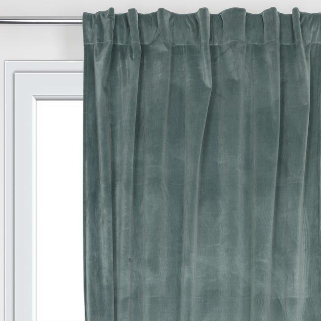 Tenda Misty verde passanti nascosti 135 x 280 cm - 1