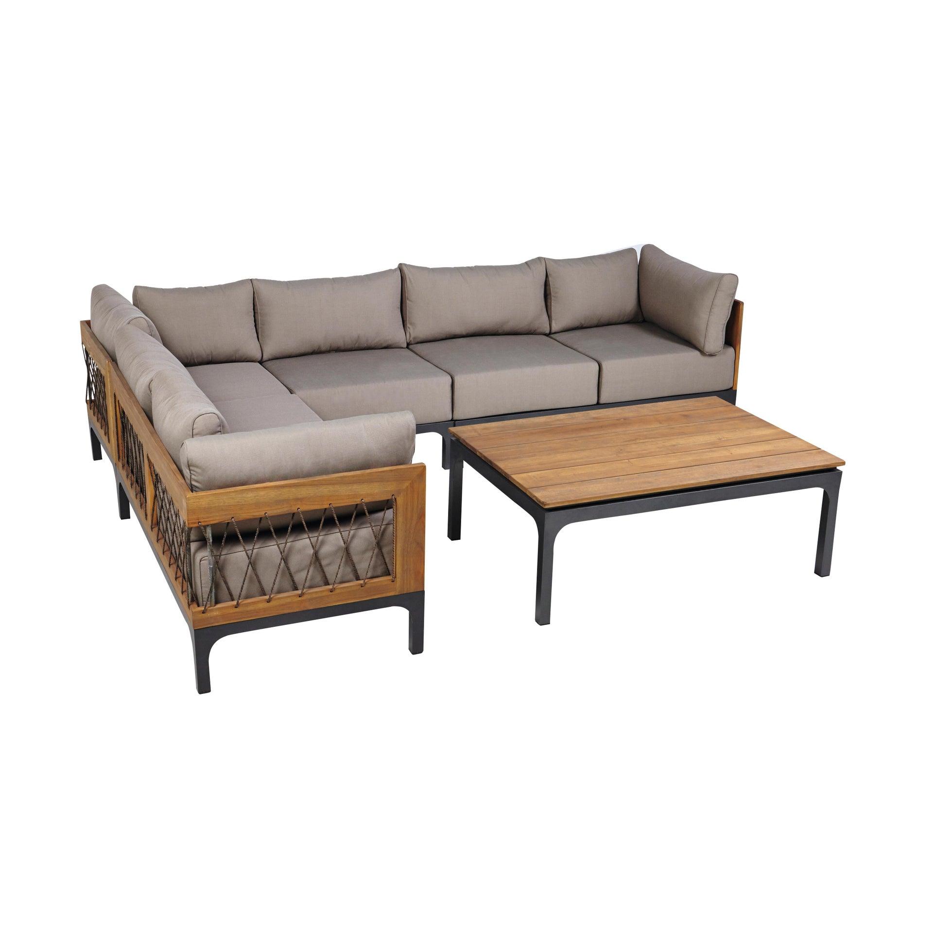 Divano da giardino con cuscino 2 posti in alluminio Peloponeso colore marrone e grigio - 2