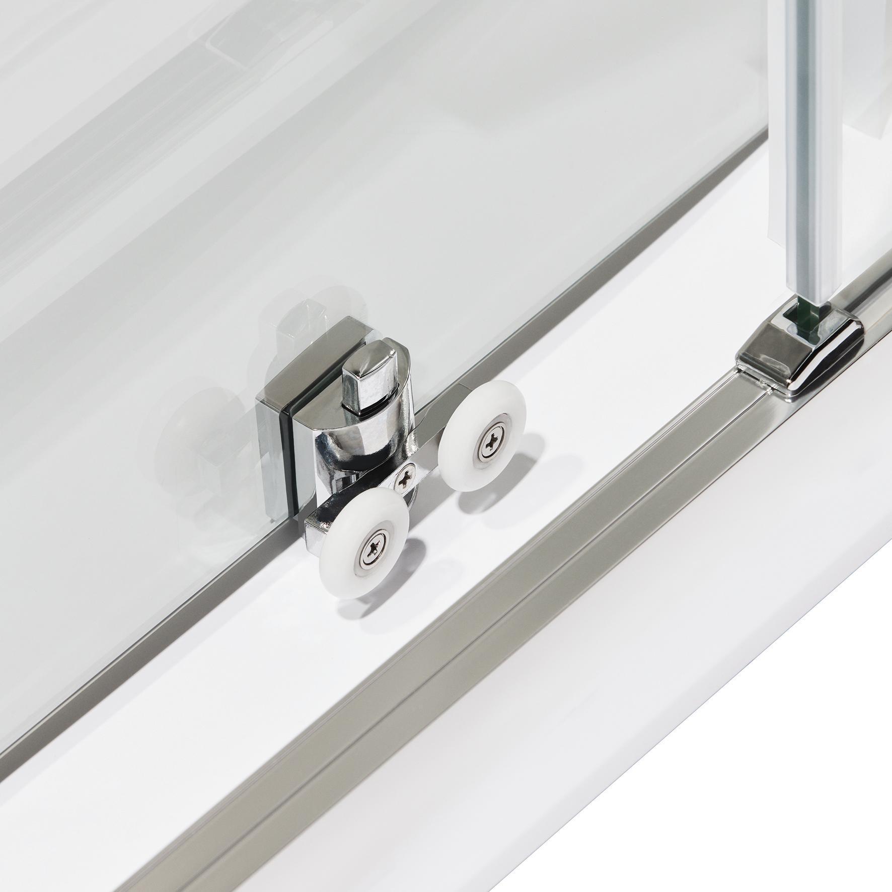 Porta doccia scorrevole Quad 120 cm, H 190 cm in vetro, spessore 6 mm serigrafato cromato - 8