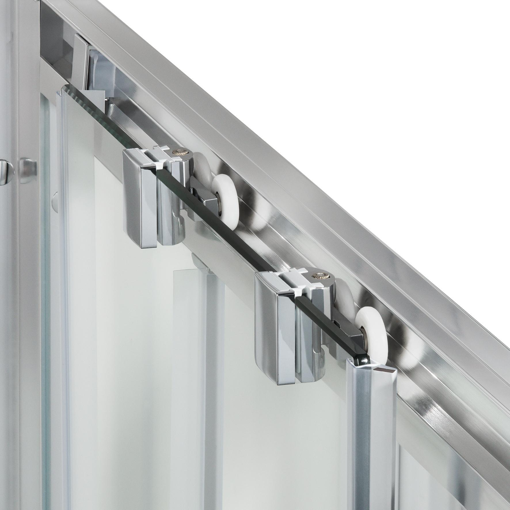 Porta doccia scorrevole Quad 120 cm, H 190 cm in vetro, spessore 6 mm serigrafato cromato - 3