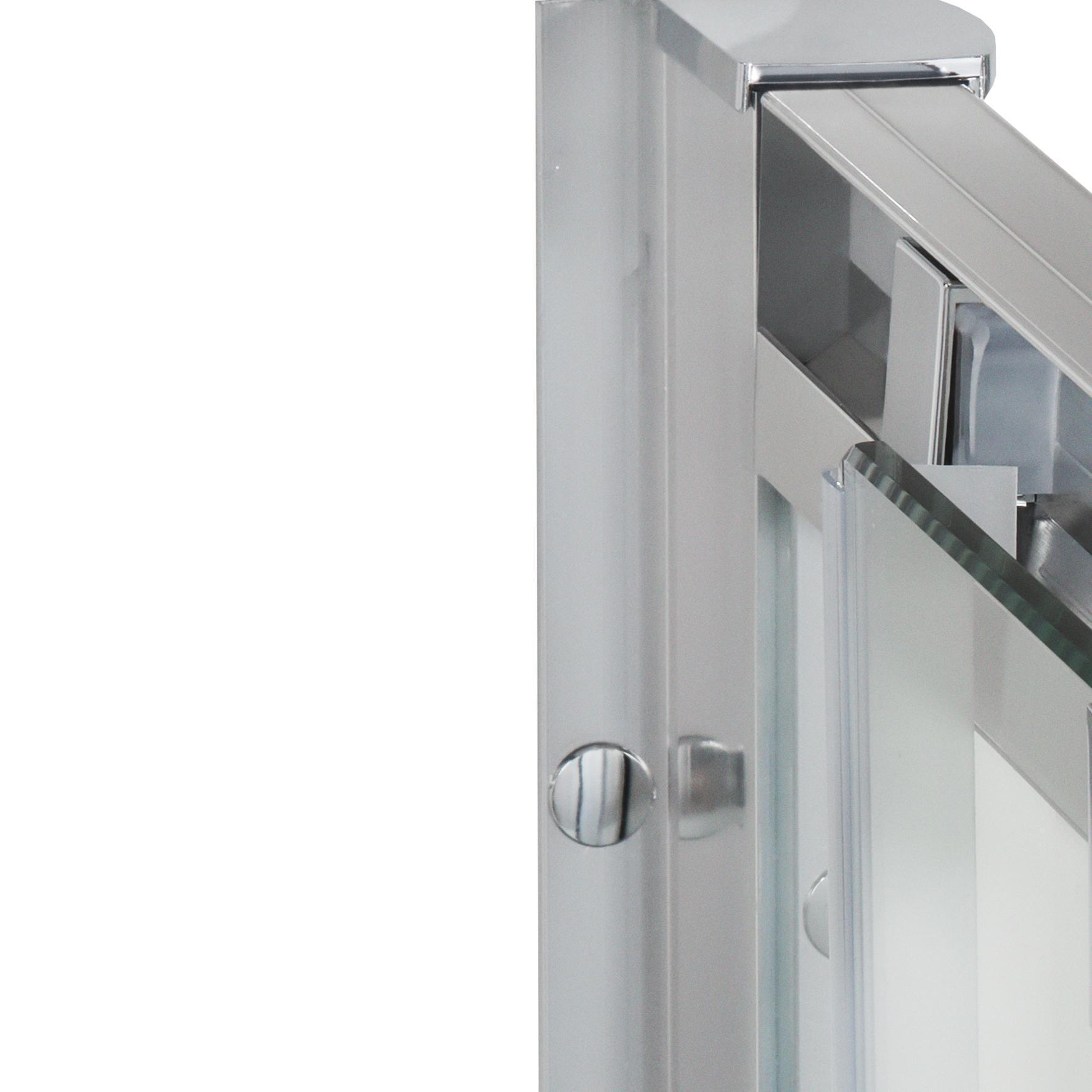Porta doccia scorrevole Quad 120 cm, H 190 cm in vetro, spessore 6 mm serigrafato cromato - 4