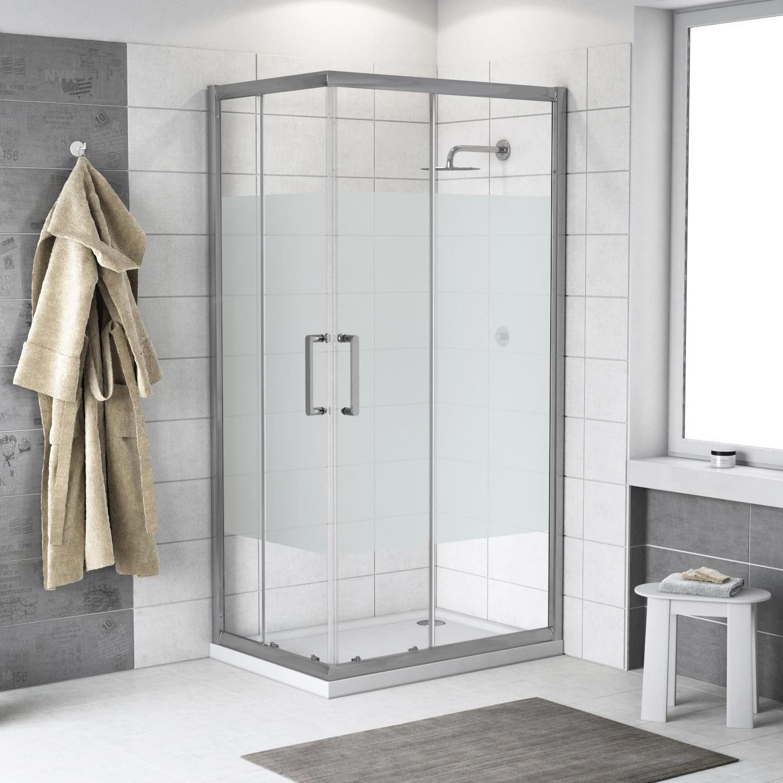 Box doccia rettangolare scorrevole Quad 80 x 100 cm, H 190 cm in vetro temprato, spessore 6 mm serigrafato argento - 3