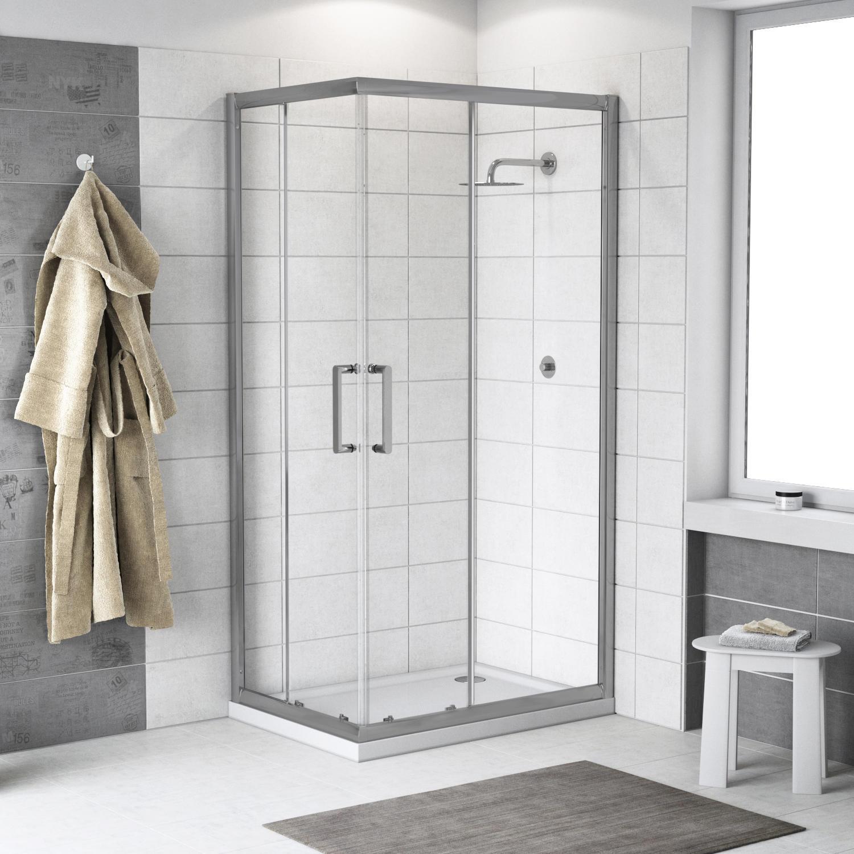 Box doccia quadrato scorrevole Quad 80 x 100 cm, H 190 cm in vetro temprato, spessore 6 mm trasparente argento - 1