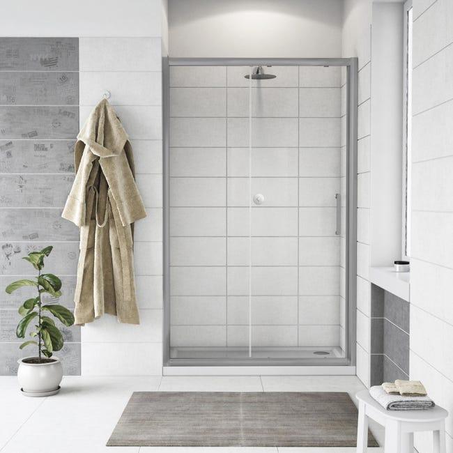 Porta doccia scorrevole Quad 100 cm, H 190 cm in vetro, spessore 6 mm trasparente satinato - 1