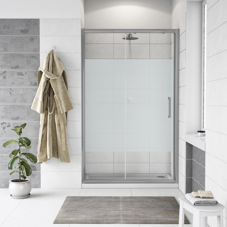 Porta doccia scorrevole Quad 120 cm, H 190 cm in vetro, spessore 6 mm serigrafato cromato - 6
