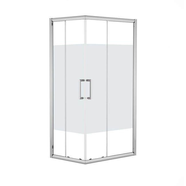 Box doccia rettangolare scorrevole Quad 80 x 100 cm, H 190 cm in vetro temprato, spessore 6 mm serigrafato argento - 1
