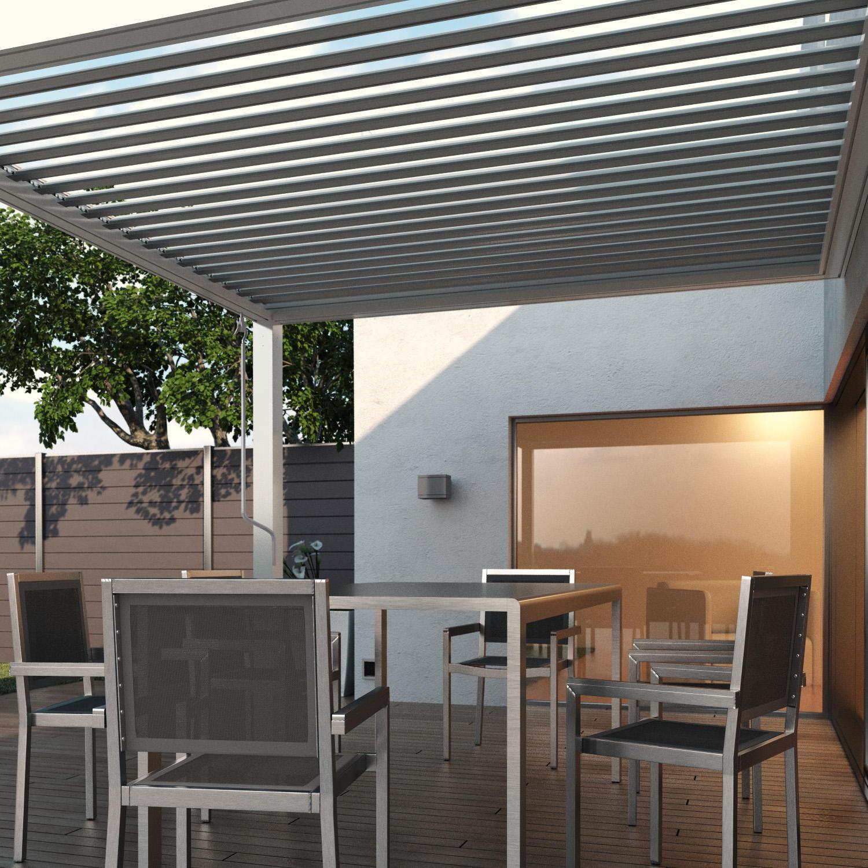 Pergola alluminio Addossata Spell bianco L 300 cm x P 296 cm, H 2.42 m - 2
