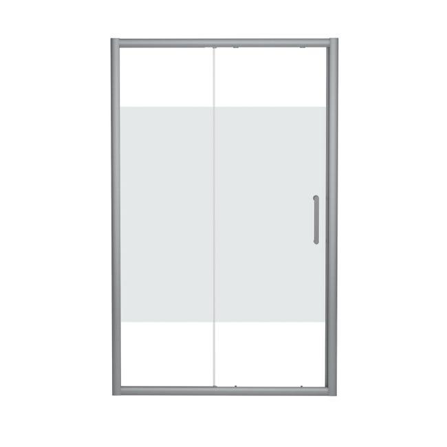 Porta doccia scorrevole Quad 120 cm, H 190 cm in vetro, spessore 6 mm serigrafato cromato - 1