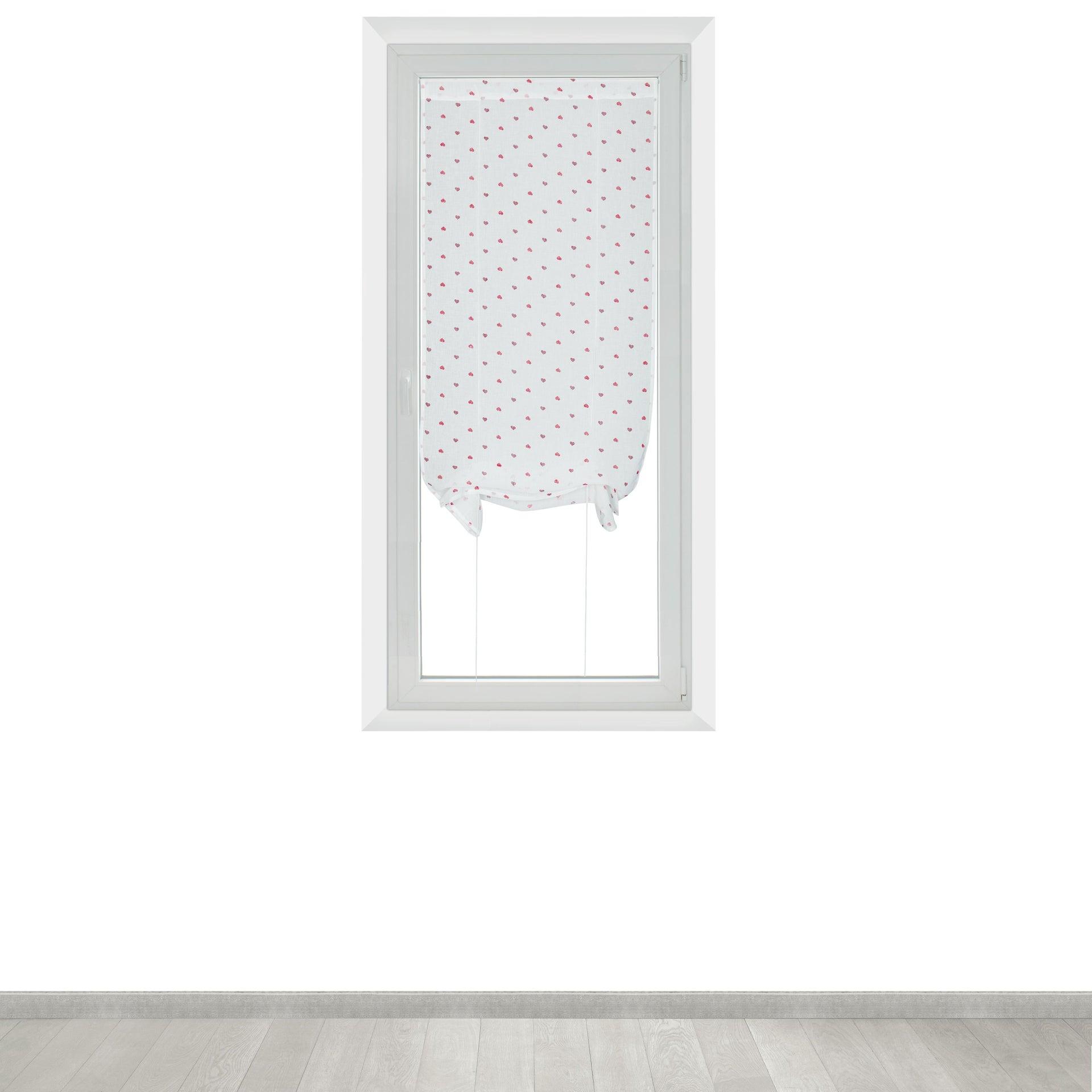 Tendina vetro Andorra bianco e rosso tunnel 60 x 150 cm - 3