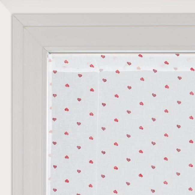 Tendina vetro Andorra bianco e rosso tunnel 60 x 150 cm - 1